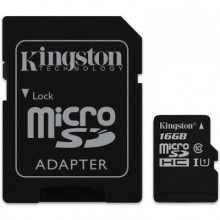 MicroSDHC карта Kingston microSDHC UHS-I 16GB + Адаптер