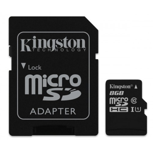 MicroSDHC карта Kingston 8GB + Адаптер