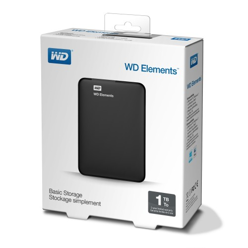 Външен твърд диск Western Digital Elements Black - 1 TB (WDBUZG0010BBK)